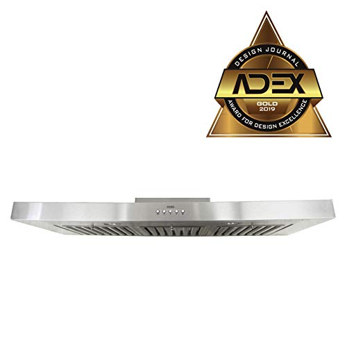 KOBE RAX2136SQB-1 Brillia 36-inch Under Cabinet Range Hood, 3-Speed, 750 CFM, LED Lights, Baffle Filters ()