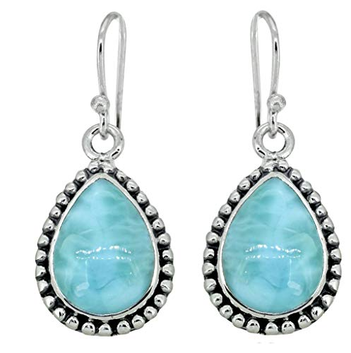 YoTreasure Pear Shape Larimar Drop Dangle Earrings Solid Sterling Silver Jewelry