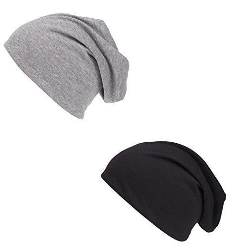 Shenky - Cappello lungo attillato in jersey - nero e grigio - confezione da 2 2205