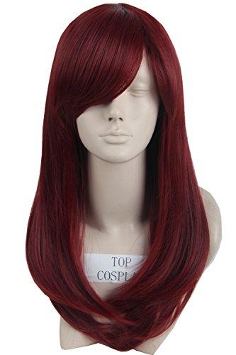 Topcosplay Women's Cosplay Wig Medium Wavy Synthetic Fiber Costume Hair 19 Inch (Wine red) (Star Long Wavy Wig)