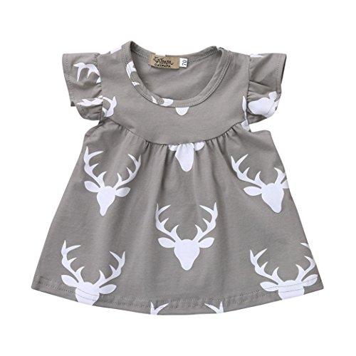 Vovotrade Infant/Toddler Baby Girls Christmas Dress Deer Printed