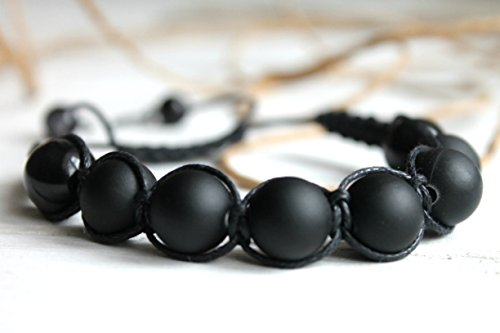 Womens Bracelet Natural Stones Black Shungite and Hematite Bead Therapy Adjustable Braided Bracelet Handmade