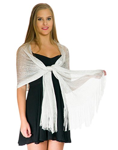 Shawls and Wraps for Evening Dresses - Sheer Bridal Womens Scarves for Prom, Wedding, Party - Scarfs for Women with Fringe - White Silver Scarf by Petal Rose
