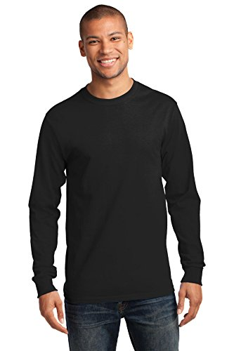Port & Company Men's Tall Long Sleeve Essential T Shirt XLT Jet Black from PORT AND COMPANY