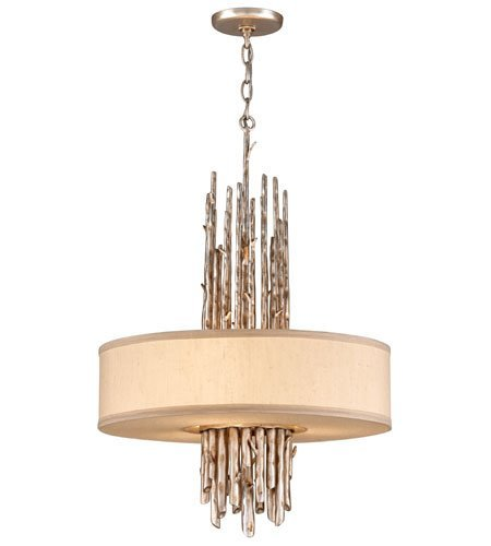 (Pendants 3 Light with Silver Leaf Finish Hand-Forged Iron Material Medium 30 inch Long 180 Watts)