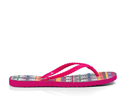Sanuk Womens Skinny Dip Braidy Sandalen Magenta / Multi Tribal Stripe