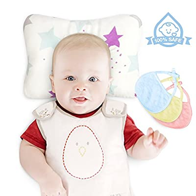Organic Cotton Baby Head Shape Pillow Prevents Rolling Over/Plagiocephaly/Flat Head Syndrome Infant Pillow For Newborns Bonus 3 Baby Bibs For Baby Shower Gift