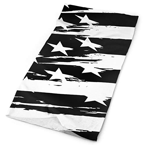 (YongColer Women Men Headwrap Neck Gaiter for Cancer Chemo Hair Loss - Black White Stripes American USA Flag Headwear Sweat Wicking Hip Pop Wind Mask Multifunctional Head Caps for)