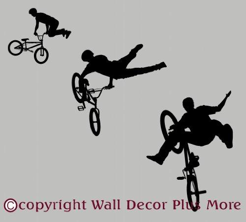 WDPM695 BMX Biker Silhouettes Vinyl Wall Decal Stickers, 23-Inch H, Black