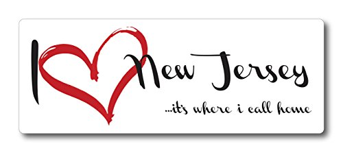I Love (Heart) New Jersey, It's Where I Call Home Car Magnet US State Flag Refrigerator Locker SUV Heavy Duty Waterproof