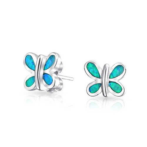 Tiny Garden Inlay Blue Created Opal Butterfly Stud Earrings For Women For Teen 925 Sterling Silver October - Synthetic Blue Inlay Opal