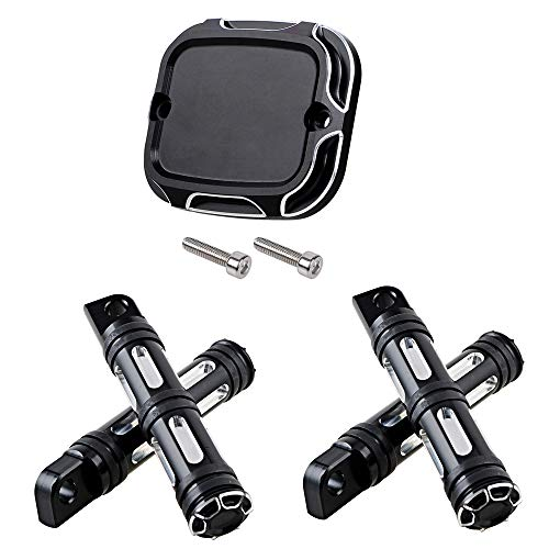 Edge Cutting CNC Brake Master Cylinder Cover w/Front&Rear FootPegs 10mm Mount Compatible with 06-17 Harley Dyna 06-14 Softail 14-18 Trike 05-07 Touring