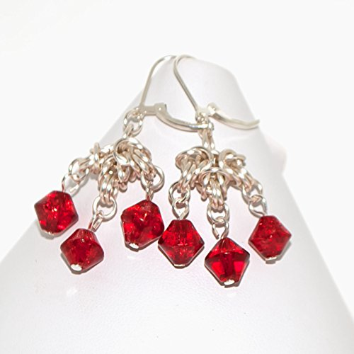 Ruby Red Glass Earrings Byzantine Cross Silver-tone Chainmail Gift for Woman -