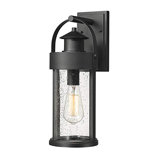 Zeyu Wall Mount Porch Light Fixtures, 1-Light Outdoor Wall Lantern Sconce in Black Finish with Seeded Glass, 16