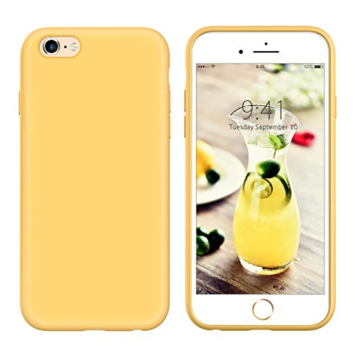 YINLAI iPhone 6S Case Liquid Silicone, iPhone 6 Case Yellow, Slim Soft Gel Rubber Cover Microfiber Cloth Lining Cushion Lightweight Shockproof Protective Durable Phone Cases for iPhone 6S/6, Yellow