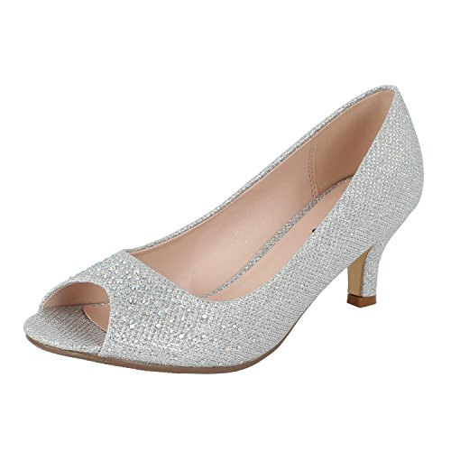 (Bonnibel Wonda-2 Womens Peep Toe Low Heel Glitter Slip On Dress Pumps,Silver,7.5)