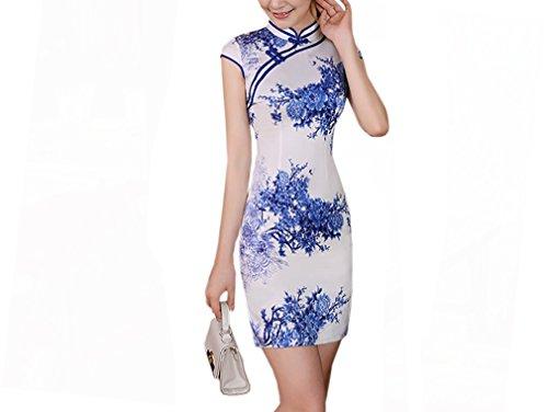 Luck Femme Robe Courte Chinois Cheongsam Moulante Motif Fleur en Polyester