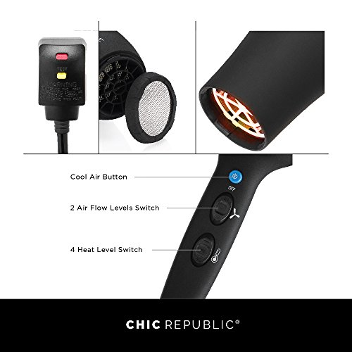 Professional Ionic Hair Dryer - Powerful Ceramic Blow Dryer - Quiet & Fast Hairdryer - Small, Ultra Lightweight Compact for Travel - 2 Diffuser Nozzles - 1875W - Premium Soft Touch Body by CHIC REPUBLIC (Image #4)