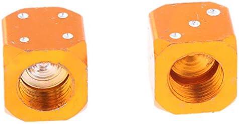 エアーバルブキャップ サイコロ バイク 車 トラック ホイールステム カバー - オレンジ