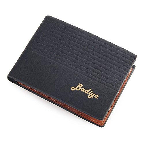 Stylish Men Bifold Wallet with RFID Blocking Slim Minimalist Front Pocket Wallet (Slim black)