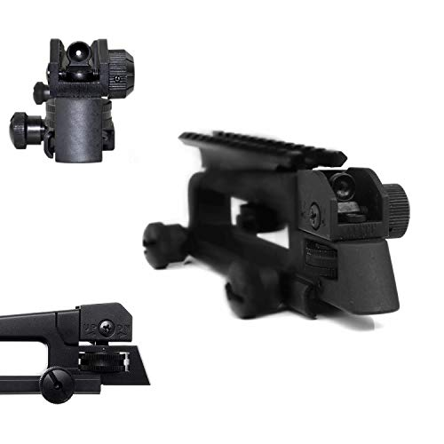 (Hygoo Dual Aperture Rear Iron Sight Windage/Elevation Adjustment with Detachable Picatinny Rail Mount)