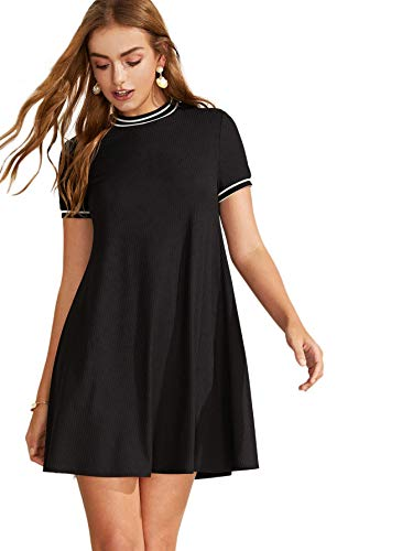 Milumia Women Striped Trim Ribbed Knit Tunic Tshirt Dress Black-2 S