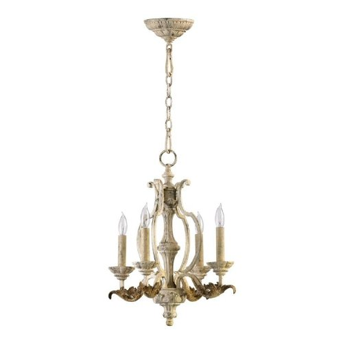 Six Chandelier Light Florence (Quorum International 6037-4-70 Chandeliers with Shades, Persian White)