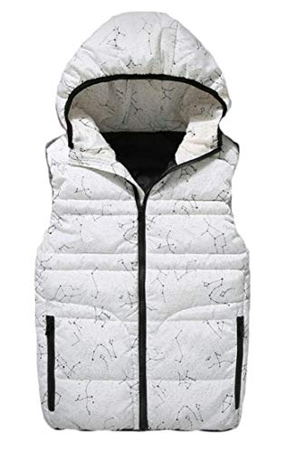 TTYLLMAO Mens Hooded Thicken Big and Tall Quilted Sleeveless Winter Down Vest Jackets White
