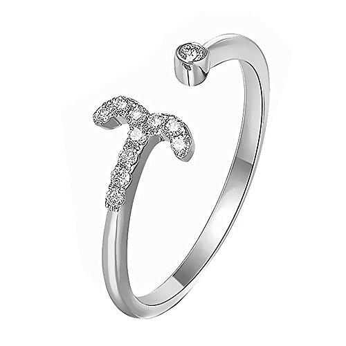 KOREA-JIAEN Aries Ring Platinum Plating Sterling Silver Ring Adjustable Opening Rings Twelve Constellations Ring Sets (Aries) (Aries Ring)