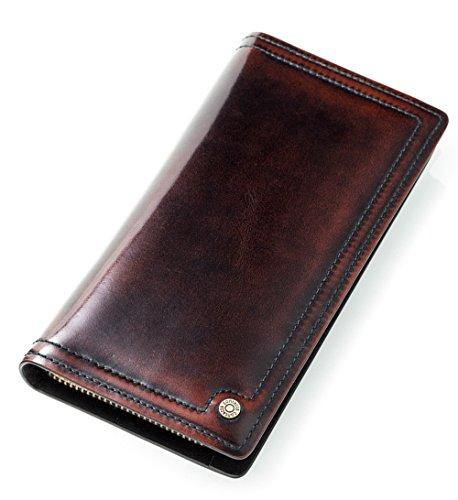 FEEHAN Große Kapazität Luxus Wax männlich-echtes Leder-Geldbörse mit Reißverschluss-Tasche (hochgradigem-Paket) 195*95*20MM (braun)