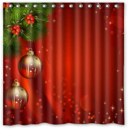 Rings Included h x72 w FUNNY KIDS HOME Retro Christmas Shower Curtain Gold Christmas Balls Red Backgound Bathroom Curtains Waterproof Polyester Fabric 36