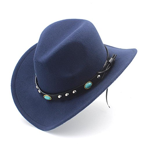 Elegdy Women's Western Cowboy Hat With Roll Up Brim Felt Cowgirl Sombrero Caps Keep Warm