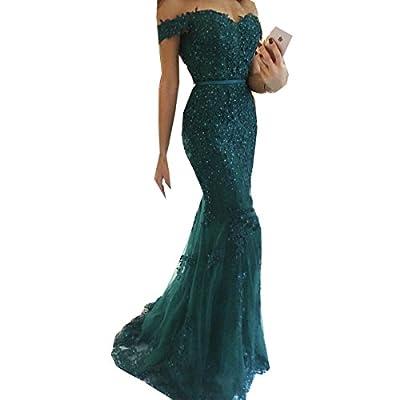 Jasminebridal Women's Off Shoulder Wedding Dress 2017 Mermaid Tulle Prom Dresses Beading Evening Dresses