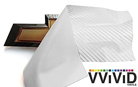 "VVIVID White Carbon Fibre Auto Emblem Vinyl Wrap Overlay Cut-Your-Own Decal for Chevy Bowtie Grill Rear Logo DIY Easy to Install 11.80/"" x 4/"" Sheets x2"