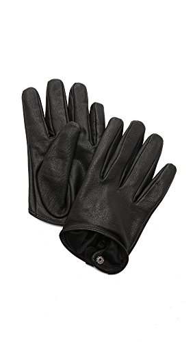 Carolina Amato Women's Short Leather Gloves, Black, Medium by Carolina Amato