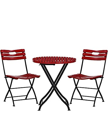 Matchless Bistro Garden Set Of 1 Table And 2 Chair (Red)