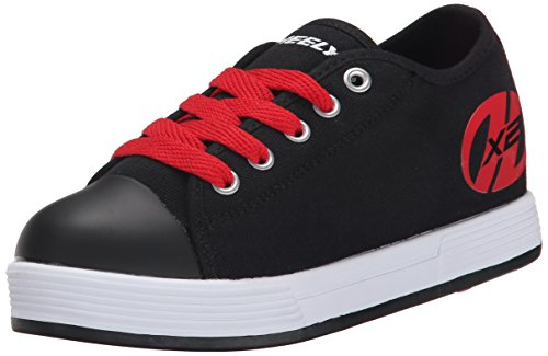 Heelys Fresh X2 Skate Shoe (Little Kid/Big Kid), Black/Red, 3 M US Little (Black Girls Heely Shoes)