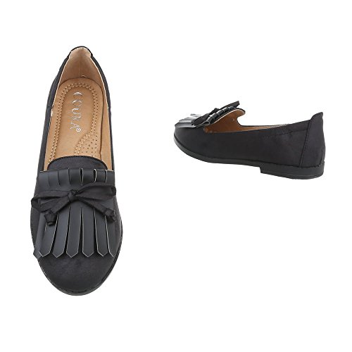 Damen Klassische Ballerinas | Leder-Optik Flats | Slippers Strass | Metallic Ballerina Schuhe | Slip-Ons Glitzer | Nieten Schleifen Lack | Freizeitschuhe | Schuhcity24 Schwarz
