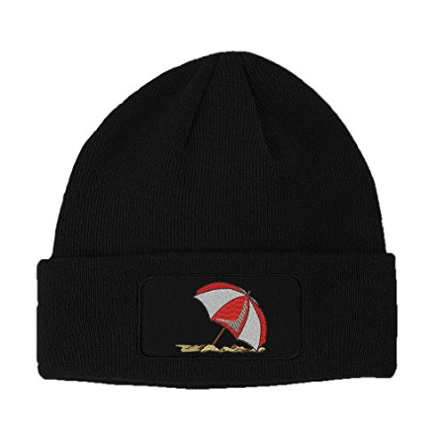 Beach Umbrella Embroidery Design Double Layer Acrylic Patch Beanie Black