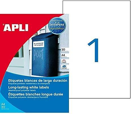 APLI 1228 - Etiquetas blancas resistentes intemperie 210,0 x 297,0 ...