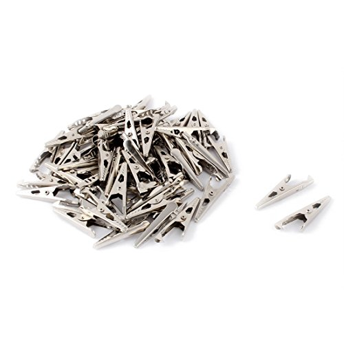 uxcell Non-insulated Electric Test Probe Stainless Steel Alligator Clips Silver Tone 60 Pcs