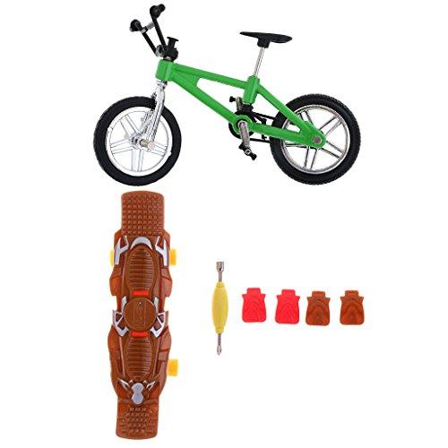 [해외]MonkeyJack 모델 녹색 손가락 자전거 자전거 + 손가락 보드 스케이트 보드 멋진 소년 장난감 선물 / MonkeyJack Model Green Finger Bike Bicycle+Finger Board Skateboard Cool Boy Toy Gift