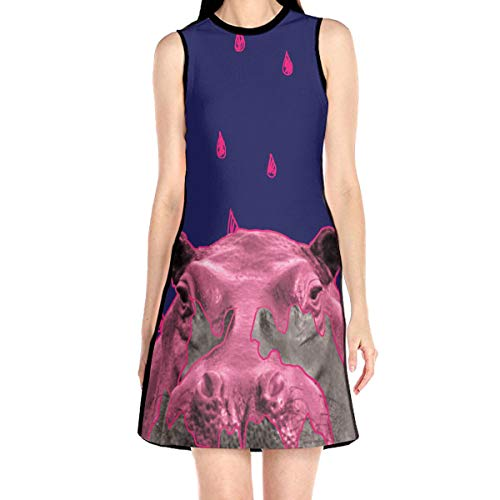 Laur Women¡¯s Sleeveless Scuba Sheath Dress Hippopotamus Abstract Print Casual/Party/Wedding Dress M White