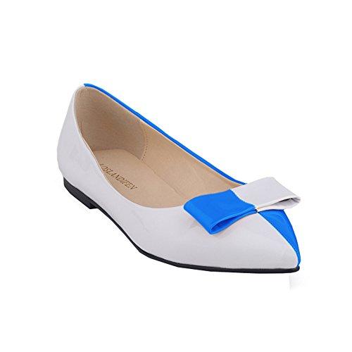 Loslandifen Vrouwen Kunstleer Patentmix Kleur Ballet Platte Hemelsblauw