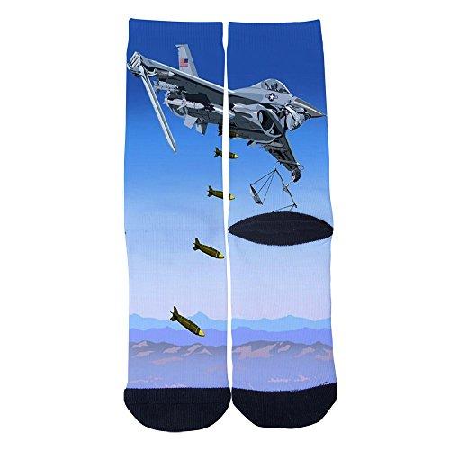 Robotic Air - Robotic aircraft Socks Mens/Womens Custom Crew Socks Personality Creative Socks Multiple Elite Socks Black