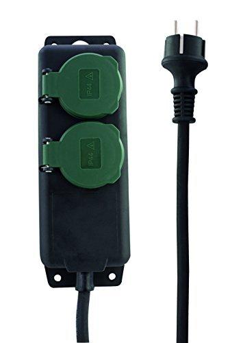 BeMatik Regleta de enchufes IP44 para Exterior 3 schuko 16A 250V con Interruptor y Cable de 1.5m
