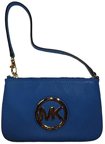 Michael Kors Leather Fulton Wristlet - Heritage Blue