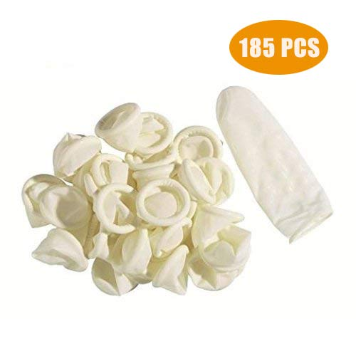 Disposable Latex Finger Cots Rubber,125g(Approx.185PCS) Fingertips Protective Finger Gloves Art Latex Tissue Finger ()