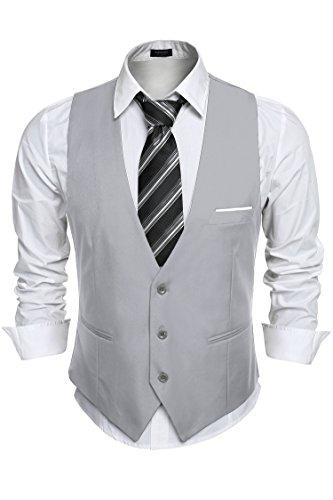 Gotchicon Men's Vest Casual Button Down Suit Vest Business Waistcoat (Formal Vests Wear)