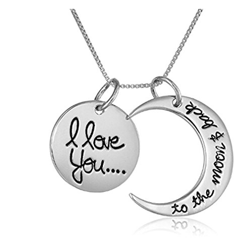 Yesido. Double Gold Sun Moon Print Alphabet Pendant Necklace for Couple (Fan Pendant Necklace)